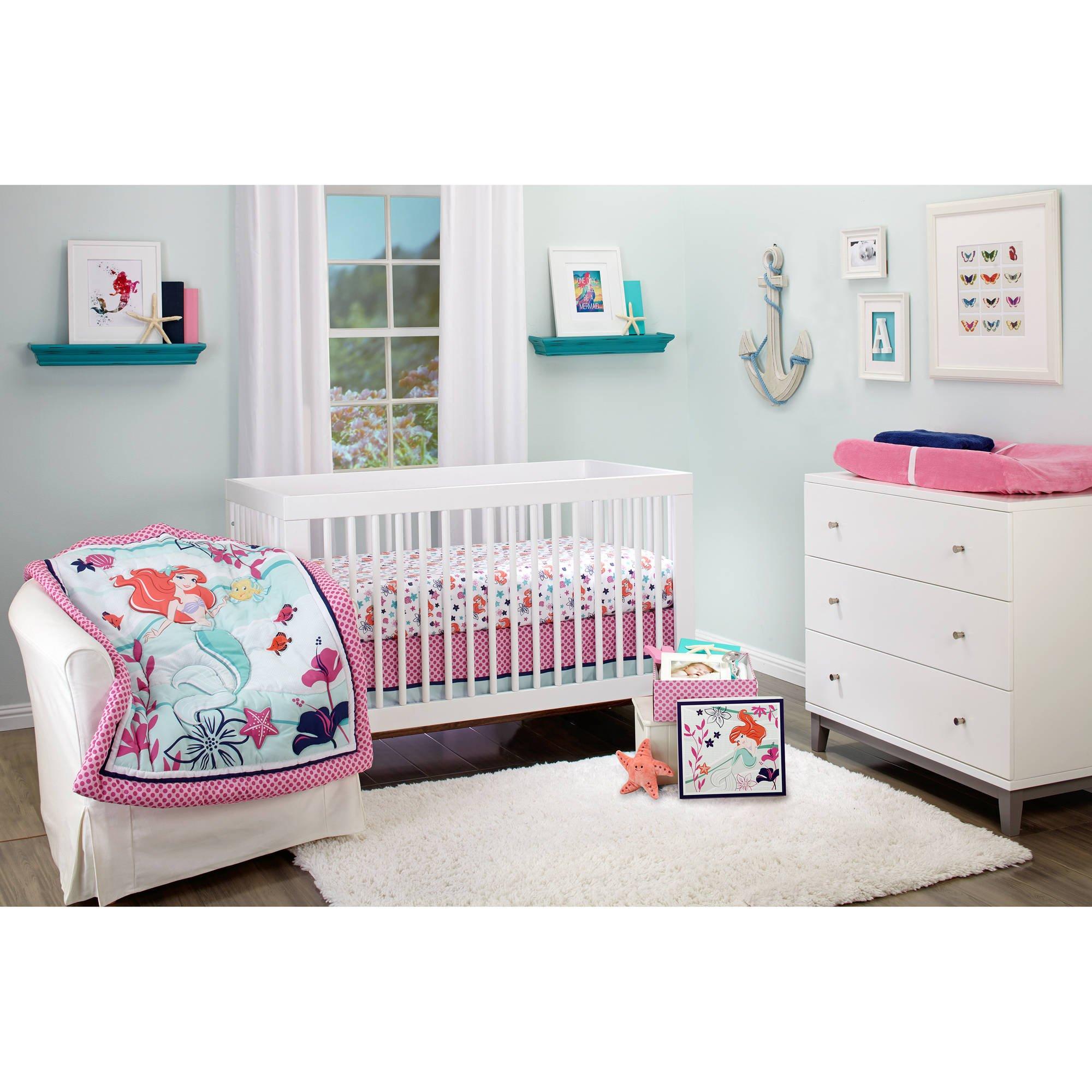 d8eaba28e59c20 Get Quotations · Disney Ariel Sea Treasures 4-Piece Crib Bedding Set W  keepsake box - Little Mermaid