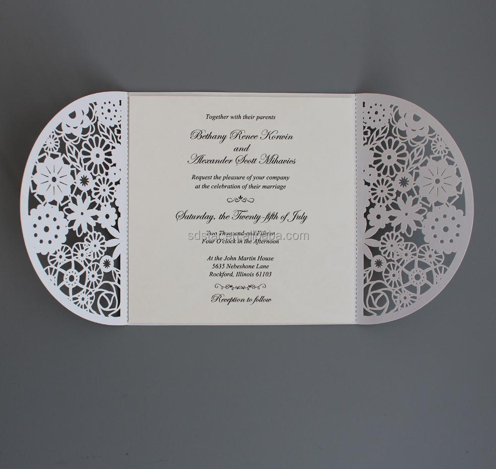 Wholesale White Laser Cut Wedding Invitation with Royal Blue – Customized Wedding Invitation