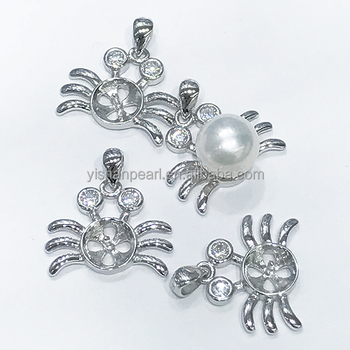 2017 New Wholesale Special Styles Crab 925 Sterling Pendant parts for Pearls Accessories Hot Sales
