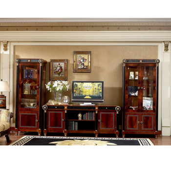 Yb10 Luxury Baroque Clic Living Room Tv Unit European Antique Mahogany Wine Display Cabinet Stand