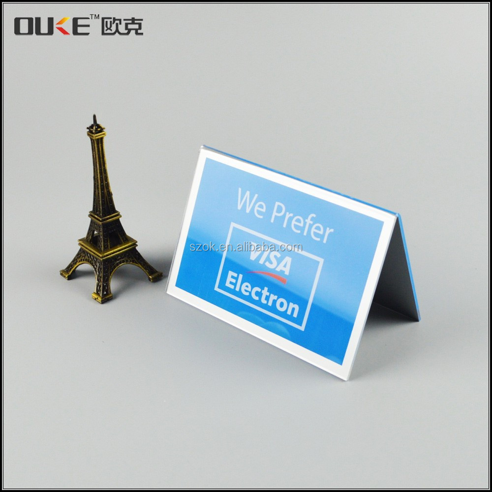 Desktop V shape high quality acrylic stand-up sign holder