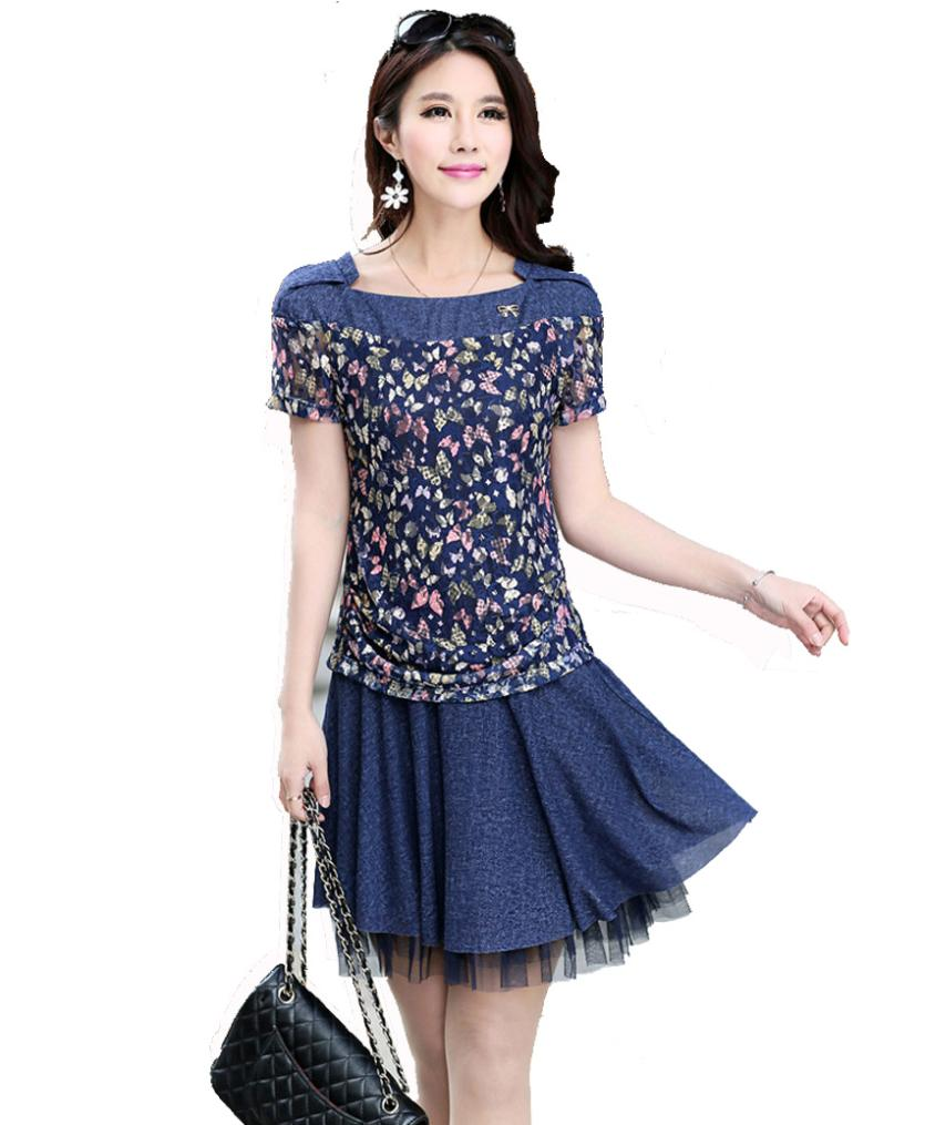 f62f3aceb1 Get Quotations · women dresses spring 2015 Korean Slim denim fabric floral  mosaic fashion 3xl lace dresses plus size