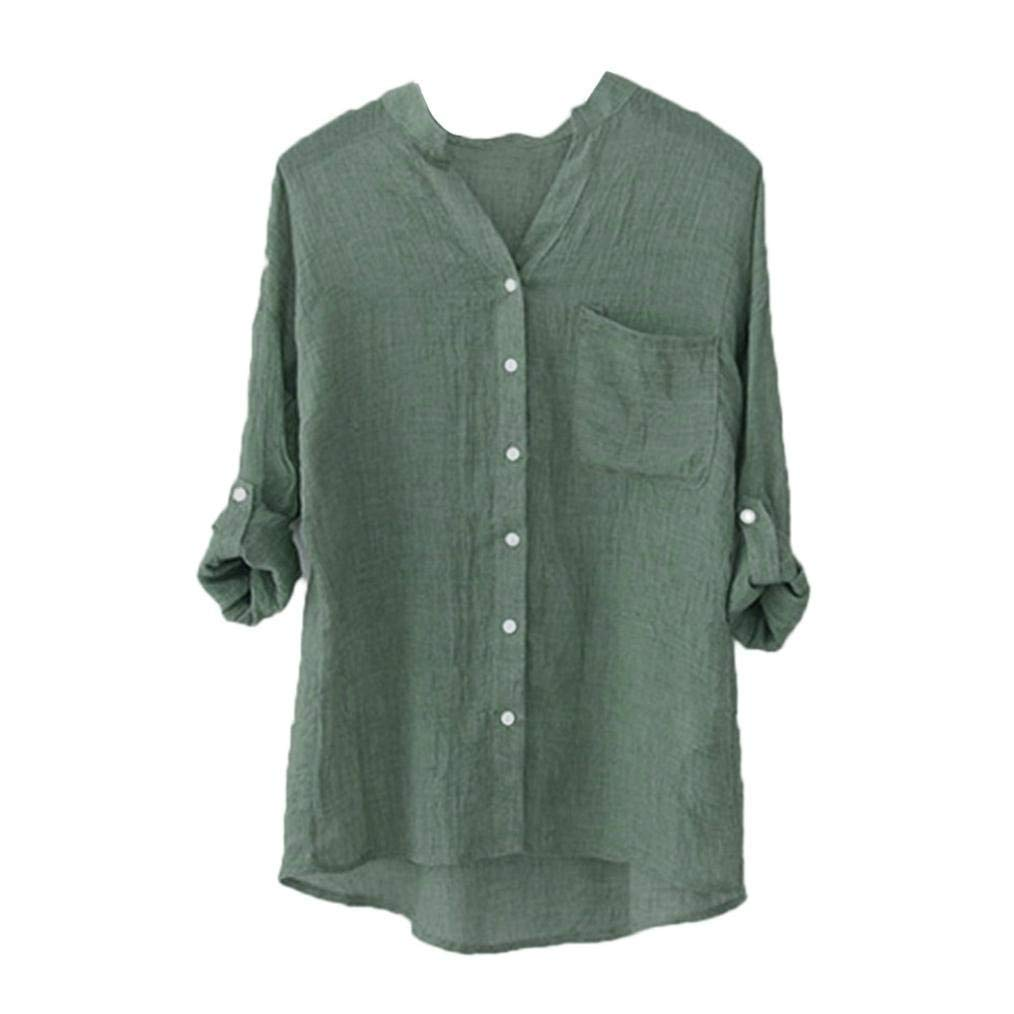 4988635e9019b8 Get Quotations · Creazy Women Stand Collar Solid Long Sleeve Shirt Casual Blouse  Button Down Tops (Green,