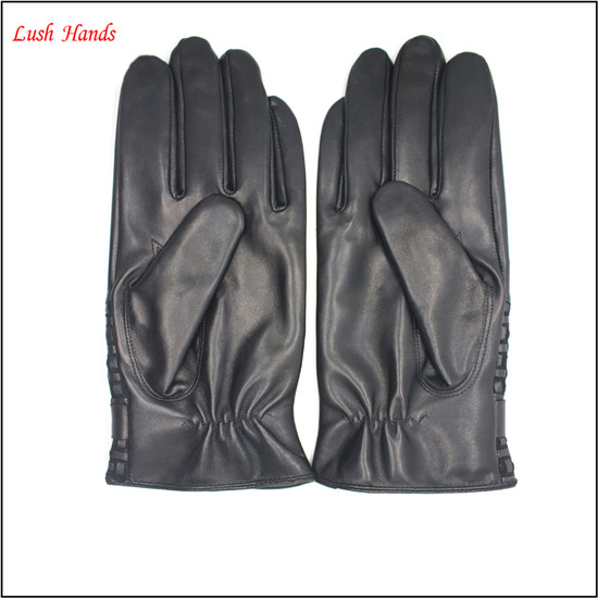 genuine lambskin hand bands leather for men and gloves velcro on palm with buttons