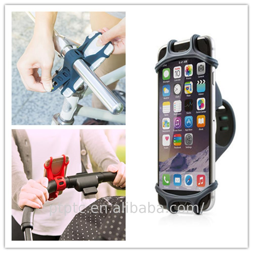 Business promotion gift Silica gel Tie Strap Stand silicone hand phone Holder stand for phone bike push cycle