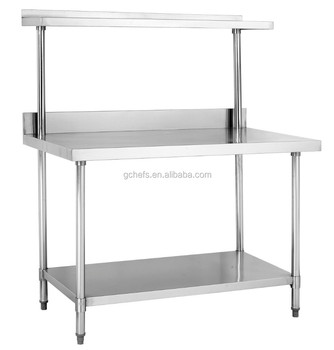 Kitchen Work Bench stainless steel kitchen work bench with single over shelf - buy