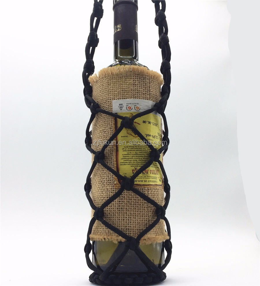 2018 new fashion paracord bottle holder for wine bottle outdoors survival wine bottle holder