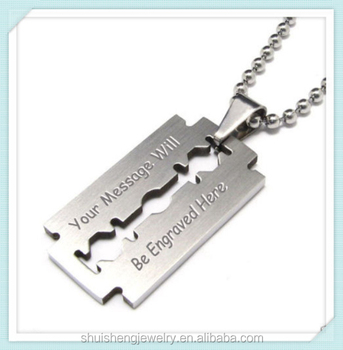Custom engraved personalized cheap wholesale stainless steel razor blade necklace meaning