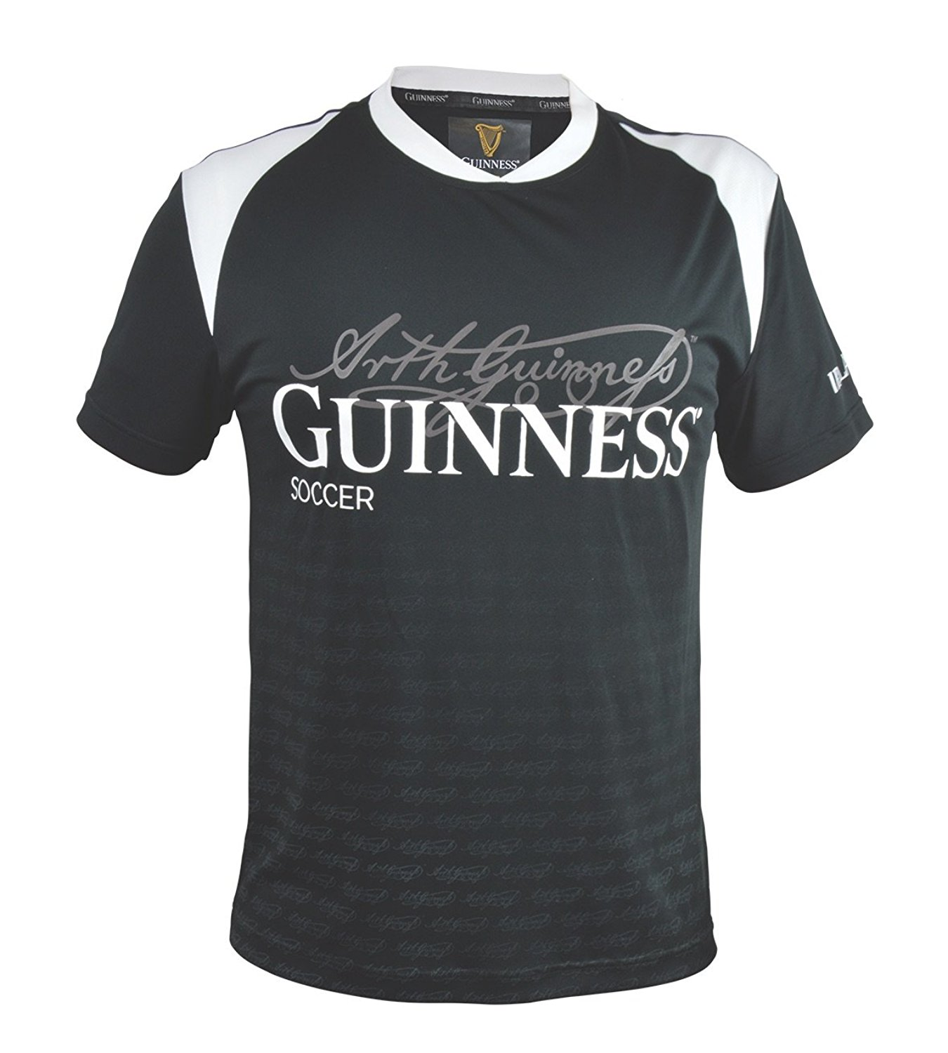 f0edd8c0254 Get Quotations · Black and White Sublimated Soccer Jersey with Arthur  Guinness Signature Sublimated Print