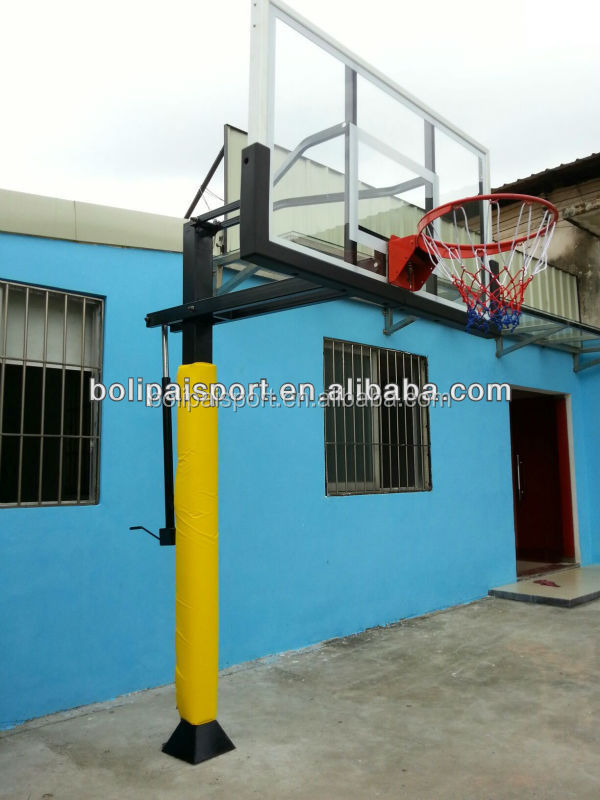 Tempered Glass Backboard Adjusts Height Basketball Hoop System
