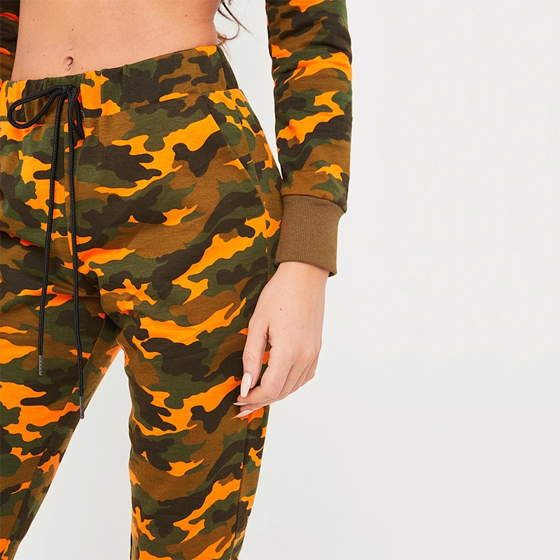 Latest Design  Crop Hoodie Camo Jogging Suit Women
