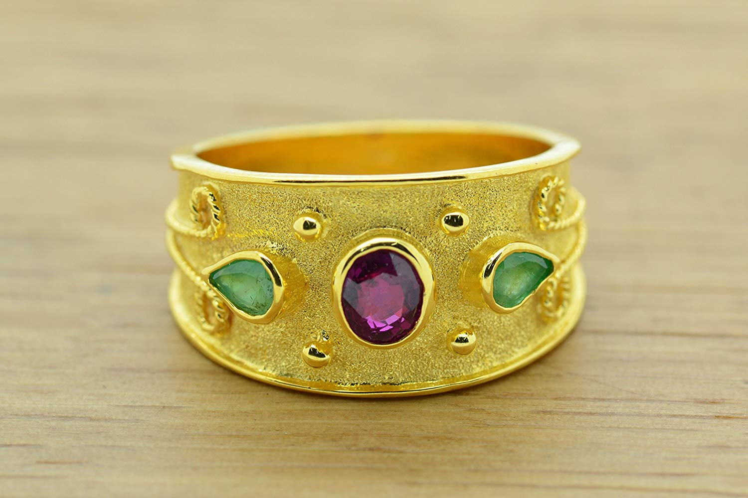 Ruby Emeralds Ring Byzantine Style 925 Sterling Silver 22K Gold Plated Greek Handmade Art, Byzantine Rubies Emeralds CZ Ring, 22K Gold Plated Ring, CZ Band Ring, Sterling Silver Ring, Byzantine Ring, Greek Jewelry, Luxury Ring, Medieval Ring, Elegant Sterling Silver Ring, cubic zirconia Ring