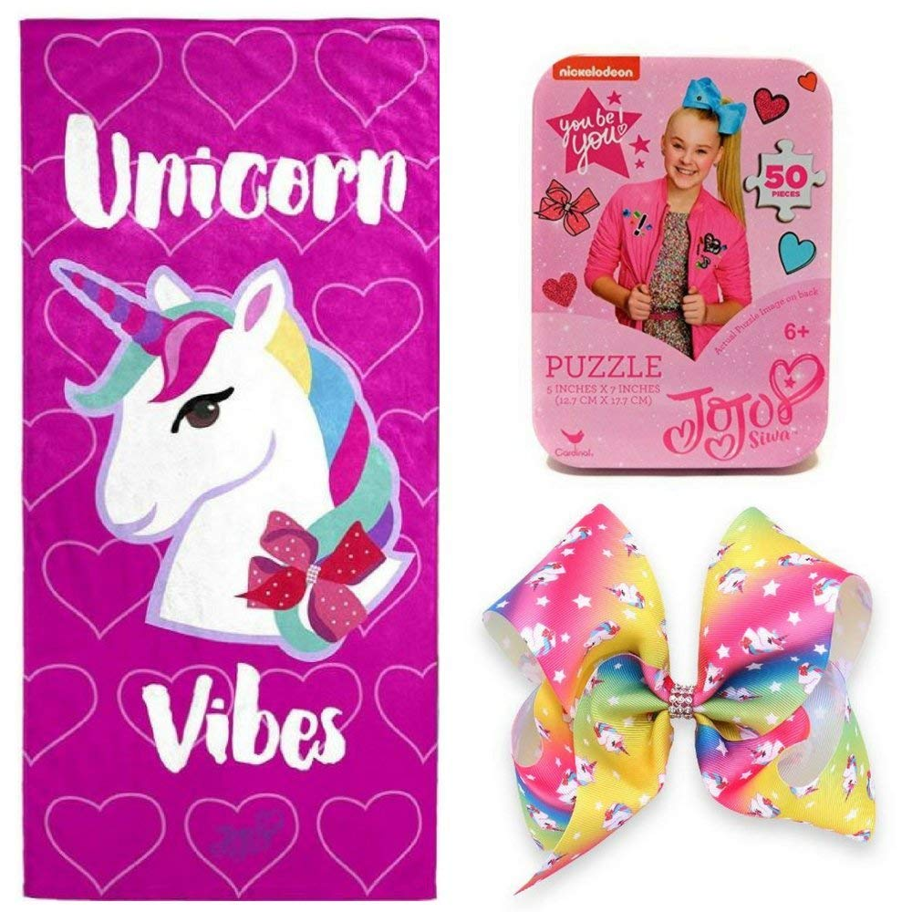 Nickelodeon JoJo Siwa Unicorn Vibes Cotton Bath/Pool/Beach Towel & OMG Large Rainbow Rhinestone Unicorn Bow with Jojo Siwa Follow Your Dreams 50 Piece Puzzle in Collectible Tin