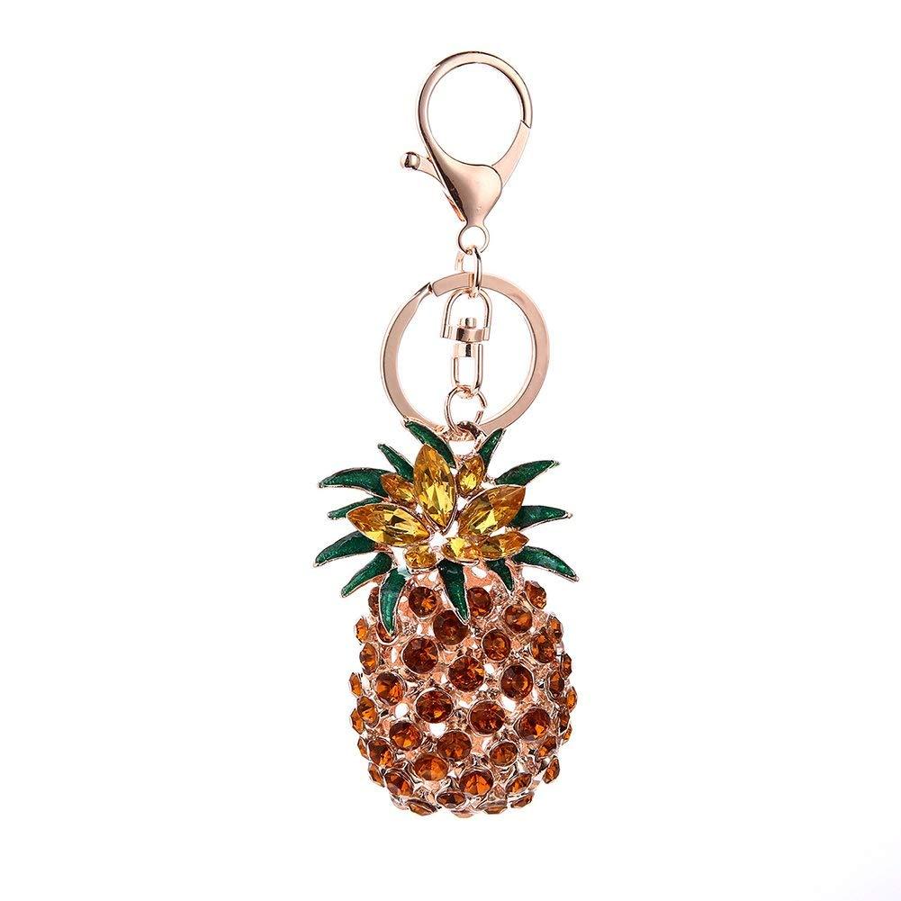 ink2055 Key Chain Accessories for Women Girls,Fashion Car Key Chain Multi-Color Rhinestone Pineapple Keychain Ring
