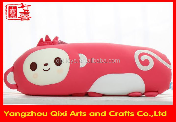 Travel animal monkey shape pillow microbeads filling pillow plush animal shaped pillow