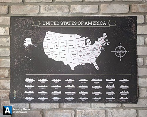 Incredibile Luoghi USA Map Scratch off USA mappa X-Large Nero scratch off USA mappa