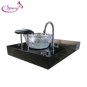 Black nail spa queen pedicure chair base with glass bowl SY-B004