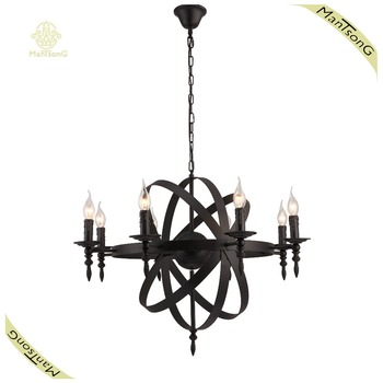 China Light Supplier Old House Candle Lamp Holder Black Pendant E14 With 8 Lights Fixtures