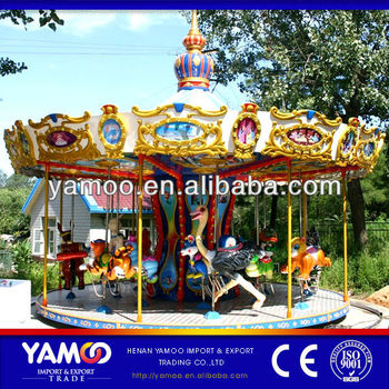 China Supplier Vertical Antique Carousel funny 16 seats Kids upper transmission real carousel as seen on TV, carousel for sale
