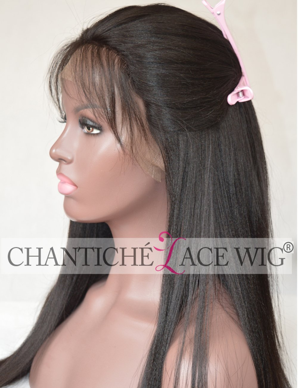 Chantiche Brazilian Remy Human Hair Wigs Yaki Straight Silk Top Lace Front Wigs with Baby Hair 150% Density 12inch #1B Medium Cap Size Medium Brown Lace