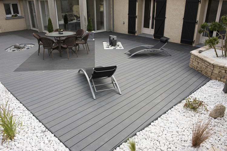 Grey color pppular decking anti rot floor board wood for Outdoor decking boards