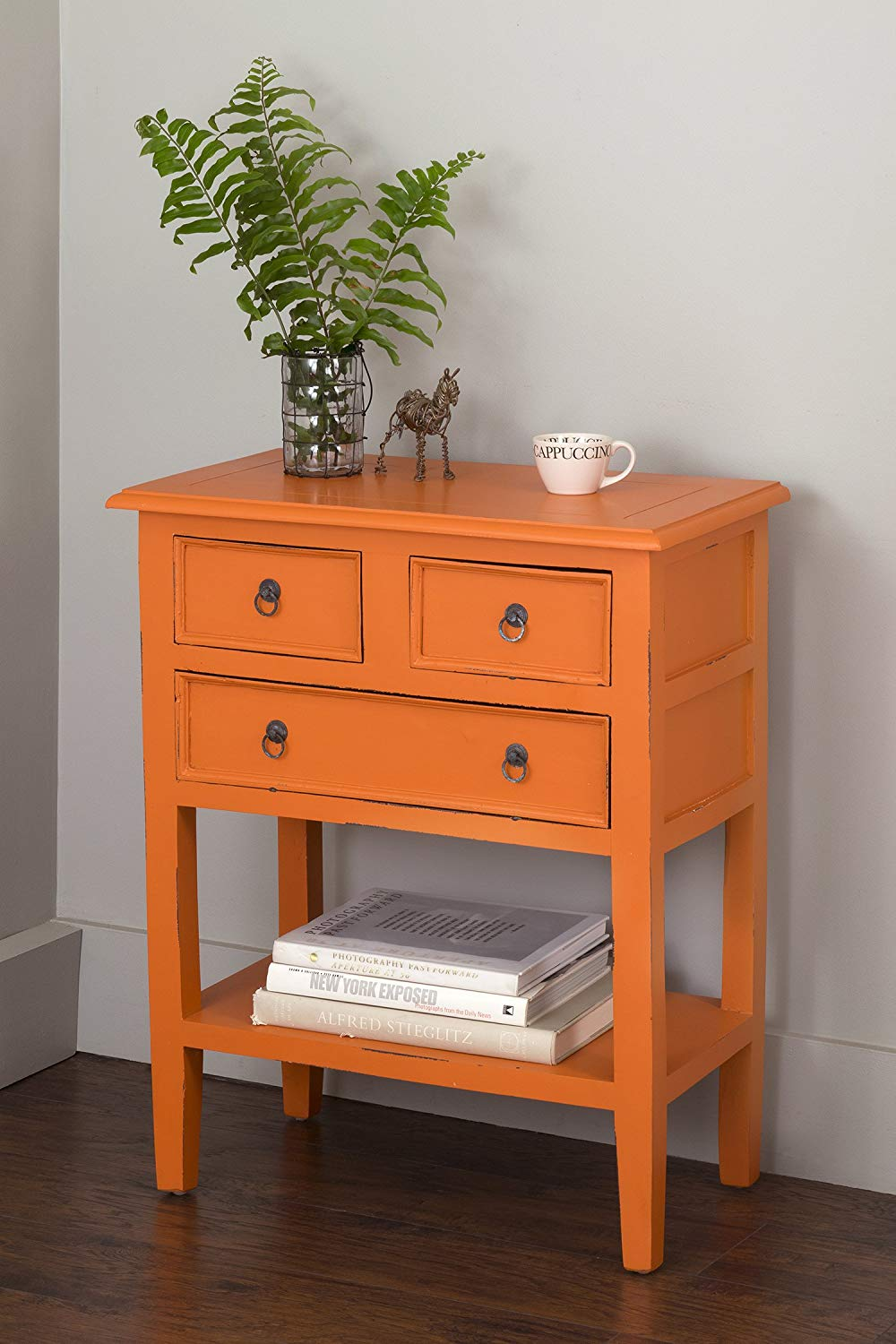 East At Main Ortin Mahogany Rectangle Accent Table, Orange, (26x14x32)