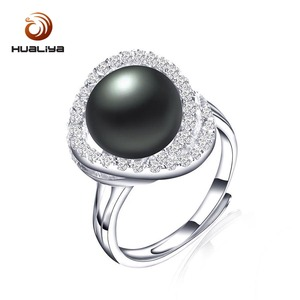 New Fashion Jewelry 925 Silver Cross Rings For Women Female Party Adjustable Freshwater Pearl Ring 4 Types