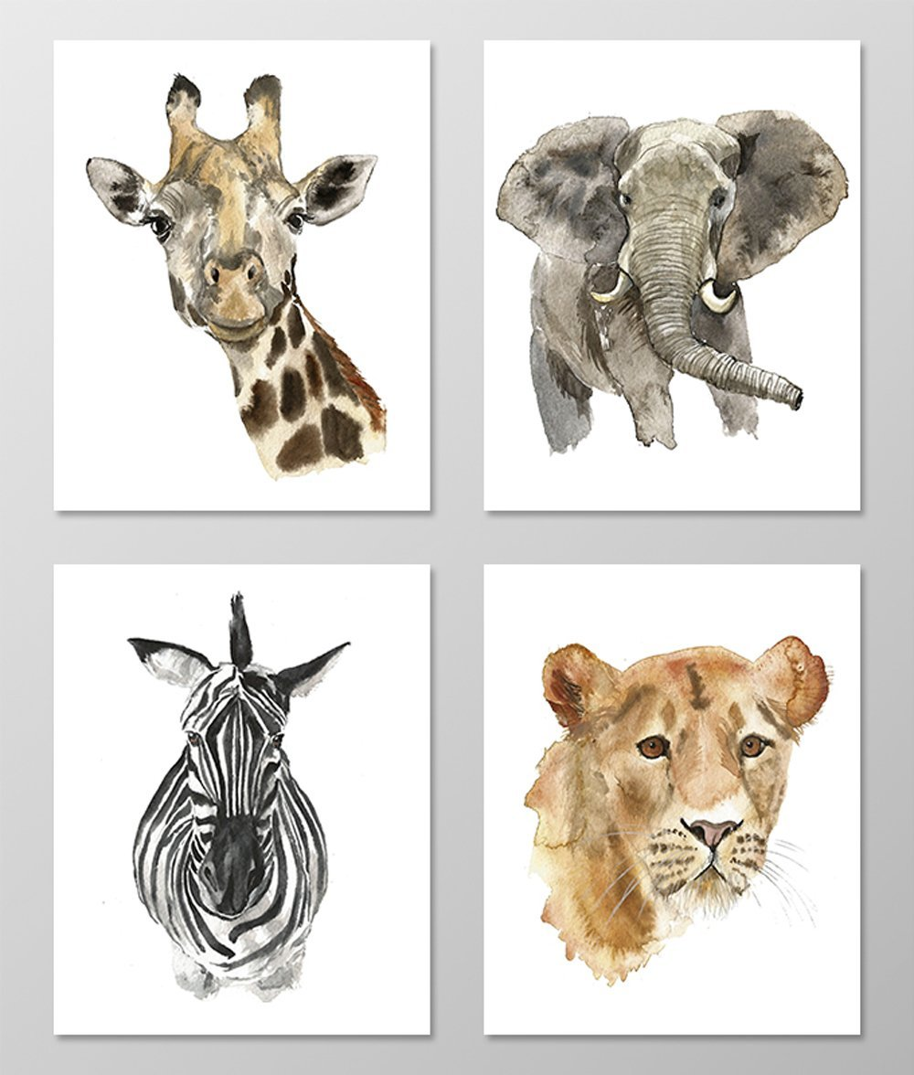 Nursery art #A002 - Set of 4 Animal art prints (8x10). Nursery wall art.Safari nursery.Watercolor animals.Safari theme wall decor.Baby room wall art.Elephant,Giraffe,Zebra print.safari animal picture