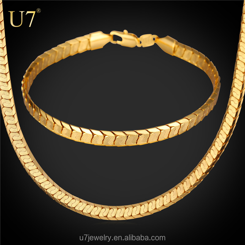 Platinum/Yellow Gold Plated Snake Chain Bracelet And Necklace <strong>Set</strong> 2016 Trendy Costume Jewelry <strong>Set</strong> For Men Gift Party