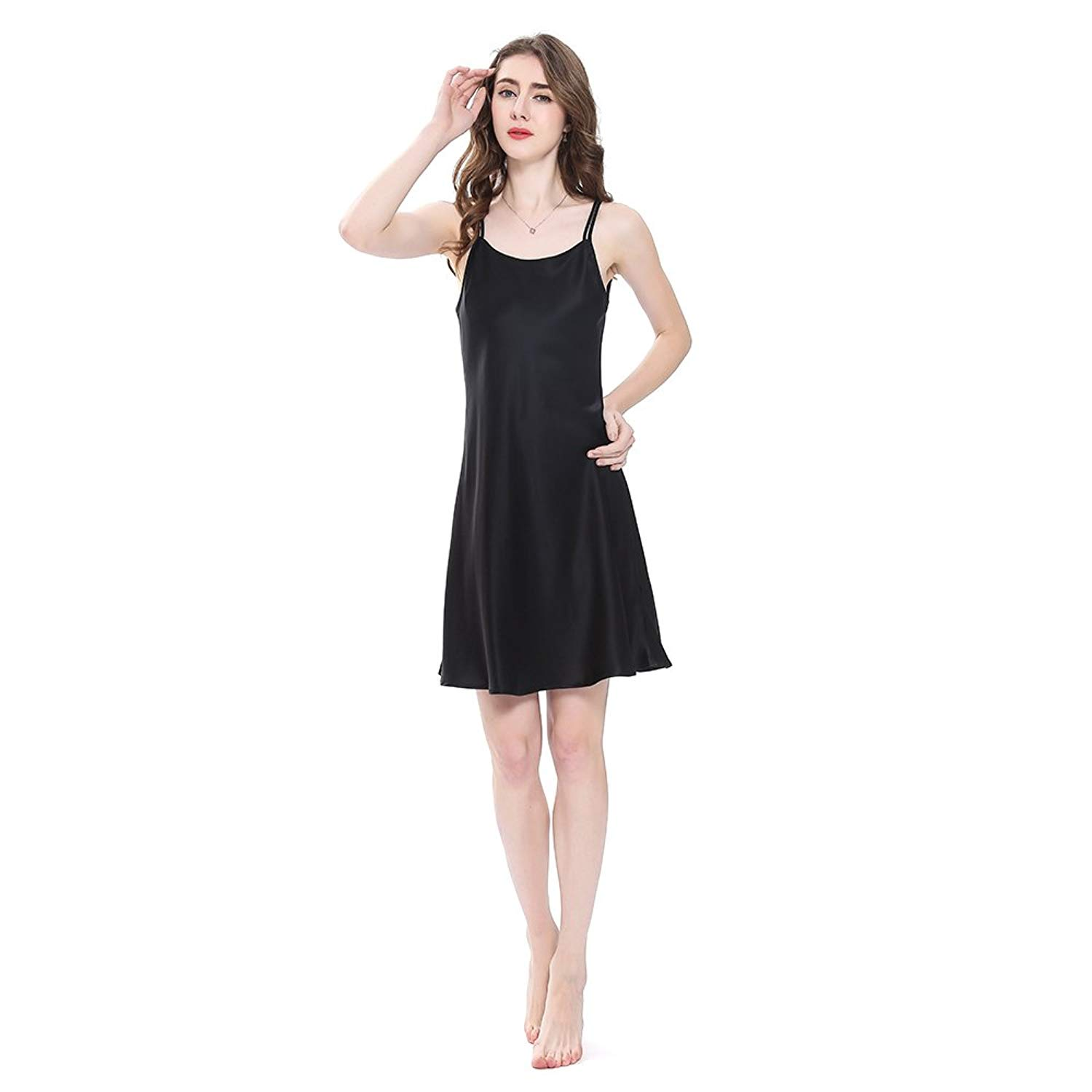 Get Quotations · LilySilk Pure Silk Nightgowns for Women Charmeuse 100 Real  16 Momme Silk Short Sexy Chemise Ladies a0b4f45fb9e5