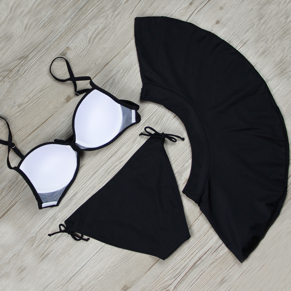POKEEK swimwear factory hot sale push up 3 piece swimsuit for women Wholesale High Quality Women Sexy cheap bikini on sale