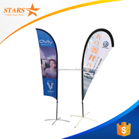 2.8m 3.4M 4.5M 5.5M Outdoor Beach Flag Pole Feather Banner with Aluminum and Fiberglass Poles