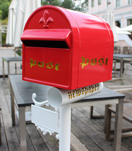 JHC-1022 red colour free standing mailbox,post mount mail box