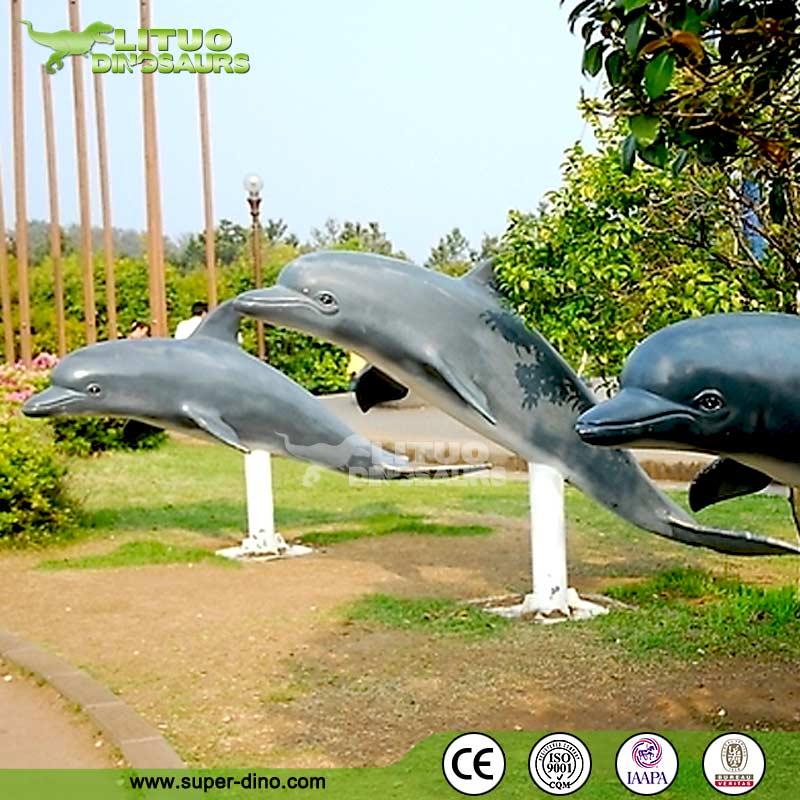 Outdoor Fiberglass Statue Life Size Dolphin