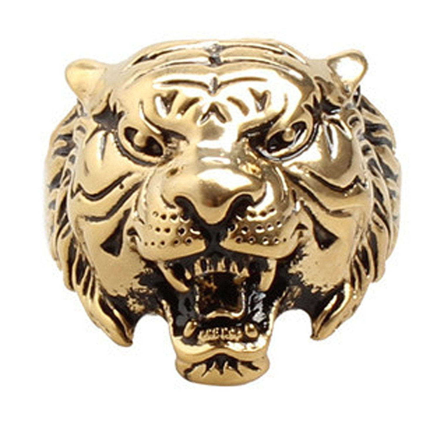 b391b6a292bc70 Get Quotations · Eamaott Men's Vintage Silver Gold Domineering Tiger Head  Ring Stainless Steel Personalized Ring Size ...