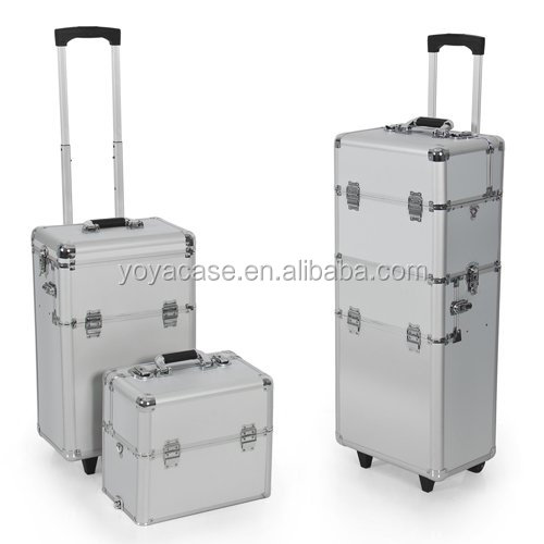 2 in 1 Cosmetic Rolling Case Makeup Artist Cast Aluminum Body