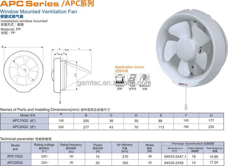 Kdk Type 8 Inch Round Bathroom Window Mounted Ventilating Fan