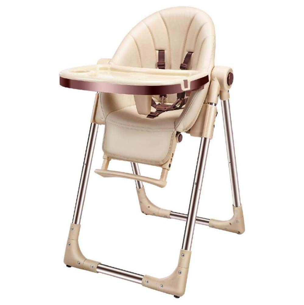 TTrar Portable Folding Chair Portable Baby Highchair,Contempo Highchair,Foldable Multi-Function Dining Chair,Removable Tray,Adjustment Height Convenient and Practical (Color : Champagne)