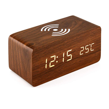 Digital LED alarm clock with themometre Alarm clock with wireless charger wifi desk clock