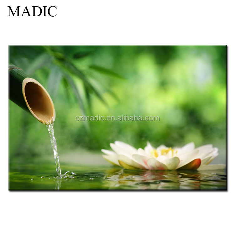 Modern Wall Art Water Lilies Painting Canvas White Yellow Flower Canvas Oil Painting for Wall Decoration
