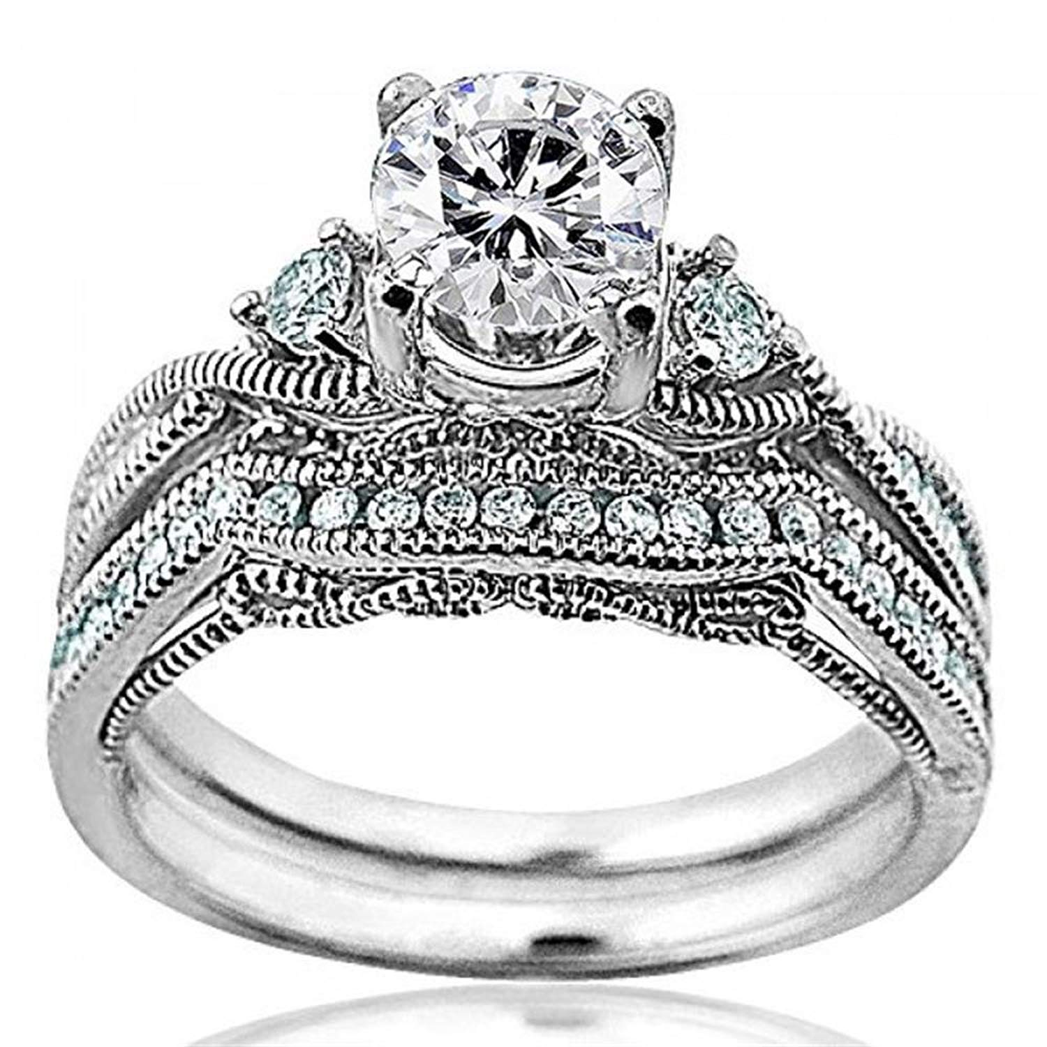 Midwest Jewellery Forever Brilliant Round Moissanite and Diamond 14K White Gold Bridal Wedding Set 1.28ctw Ornate Style