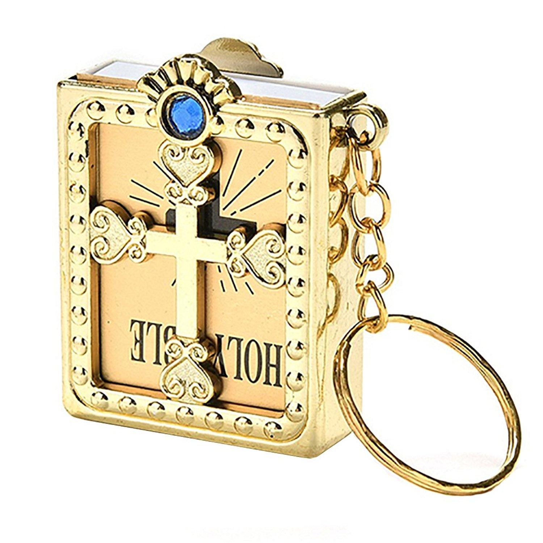 Get Quotations · super1798 Fashion Mini Holy Bible Miniature Paper  Spiritual Christian Keychain Keyring Gift 015fa2047da2
