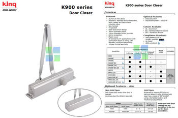 King Door Closer K900 Series Assa Aboly Buy Sliding Arm