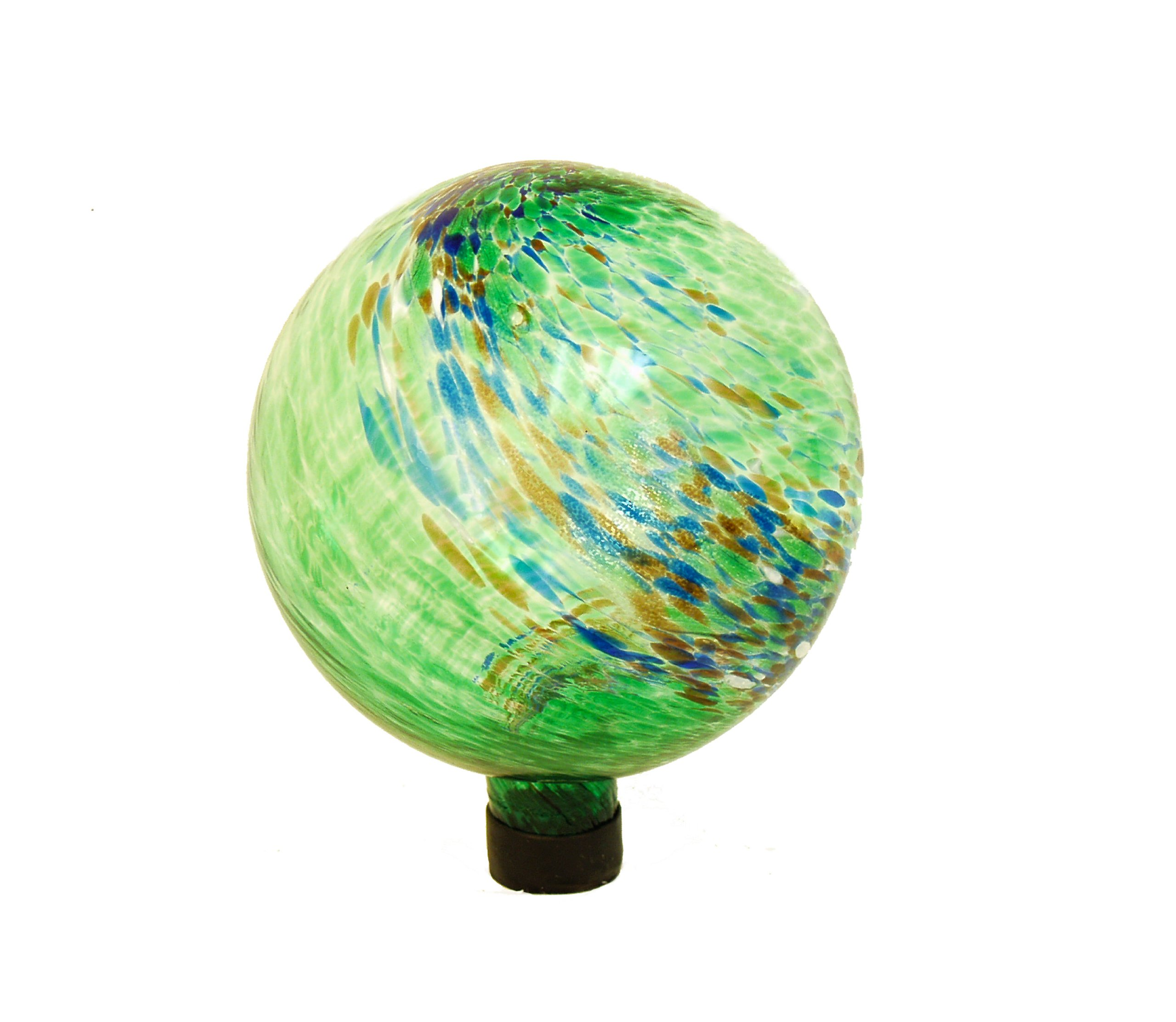 Echo Valley 8141 10-Inch Glow-in-the-Dark Illuminarie Glass Gazing Globe, Green Swirl