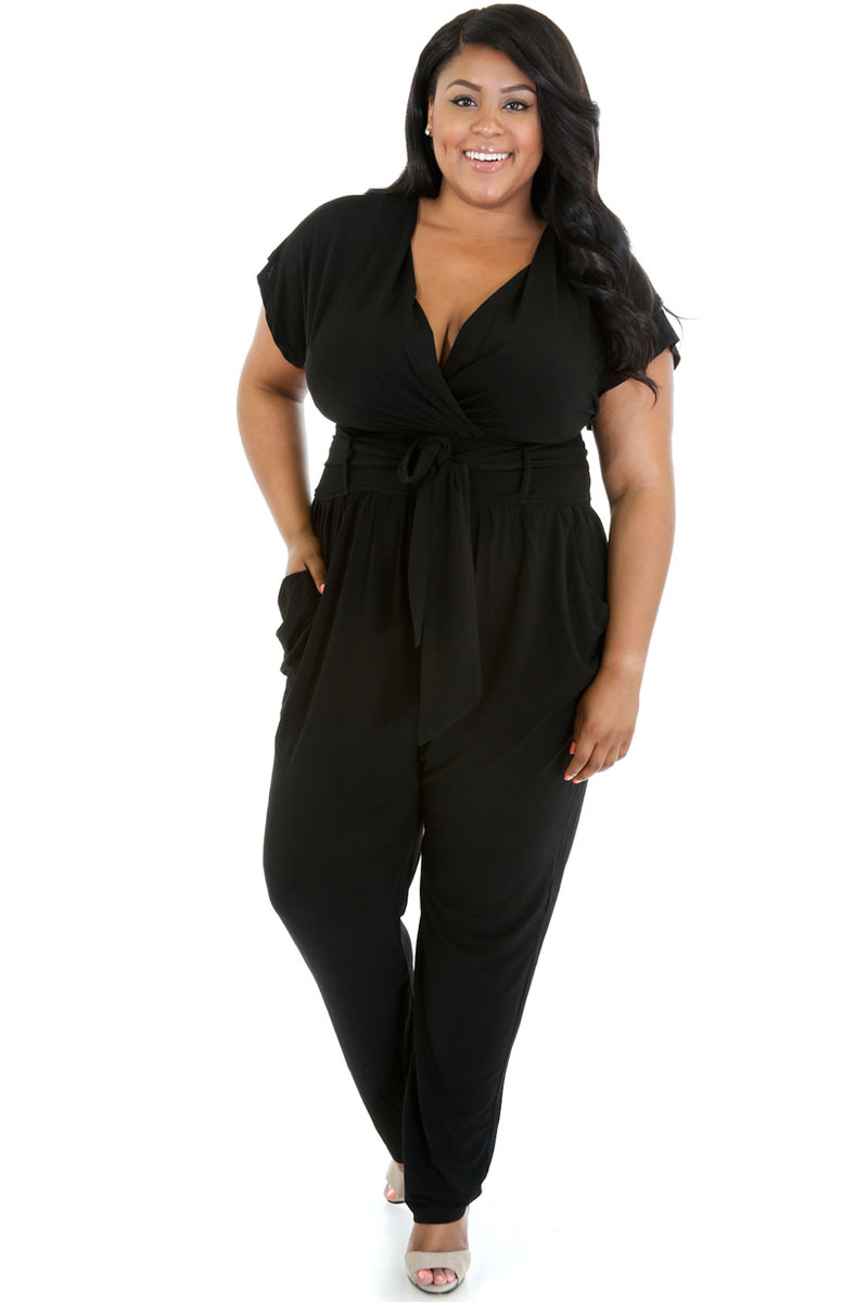 7fe823b26d6 Get Quotations · Plus Size Sexy Deep V neck Rompers Womens Jumpsuit Short  Sleeve Macacao Feminino Longo Blue Black