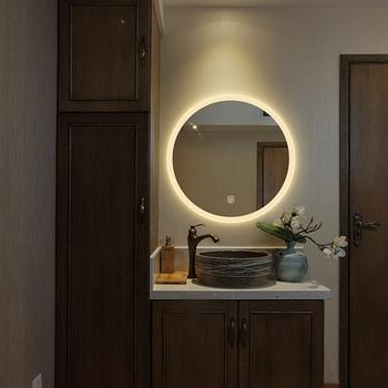 Simple Led Illuminated Round Framed Wall Bathroom Mirror For Hotel Buy Led Illuminated Mirror Round Bathroom Mirror Framed Bathroom Mirror Product