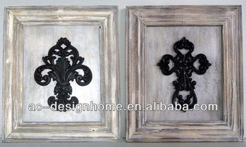 White Washantique Black Polyresinwooden Fleur De Lis Cross Wall