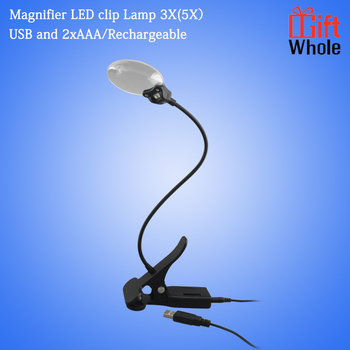 Usb Or Battery Operation Magnifier Led Clip Lamp 3x(5x) For Table ...