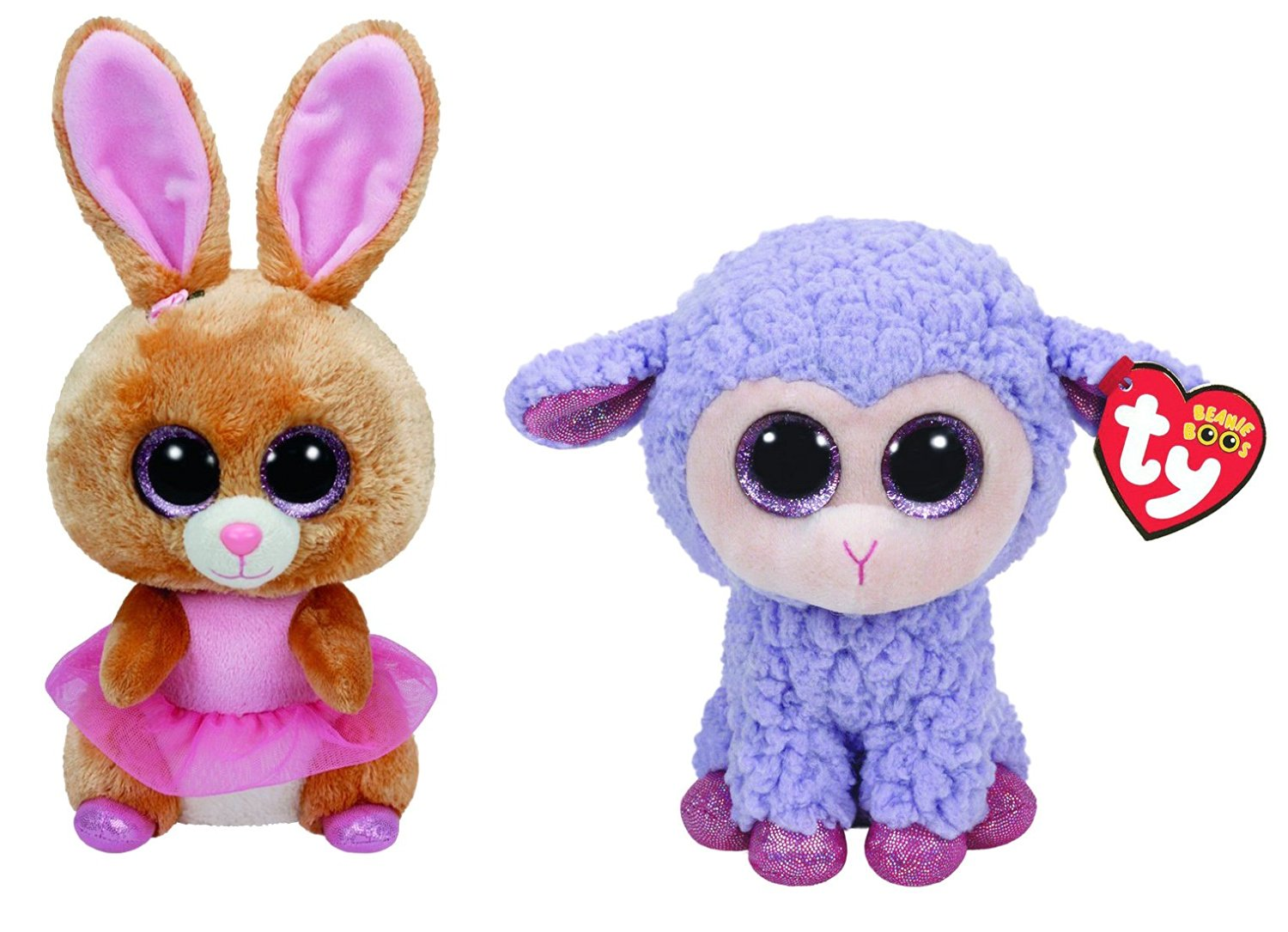 60b2417a912 Ty Easter 2016 Beanie Boos Twinkle Toes the Ballerina bunny and Lavender  the Purple Lamb