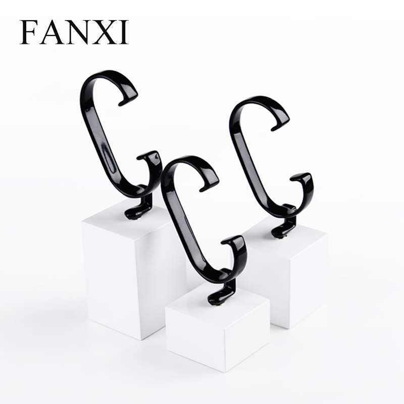 FANXI Wholesale Cabinet Jewelry Watch Stands with Removable Rubber C Ring Holder Shop Bangle Exhibitor Wooden Watch Display